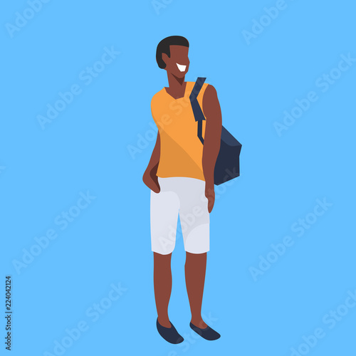 african american man holding backpack standing pose casual
