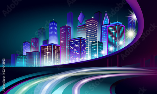 Fototapeta Smart city 3D neon glowing cityscape