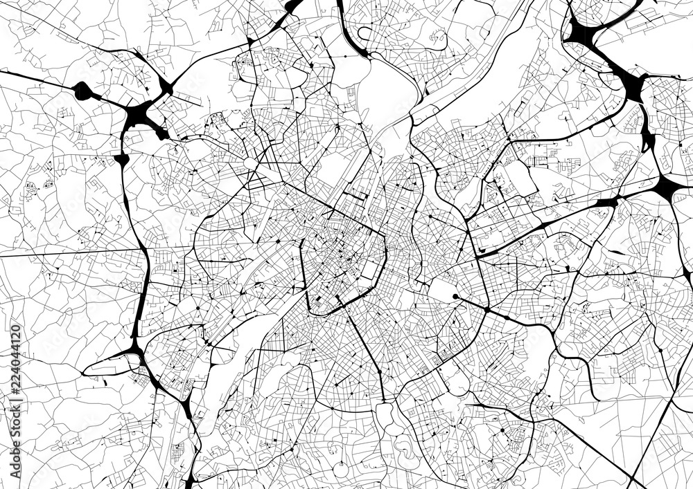 Fototapety, obrazy: Monochrome city map with road network of Brussels