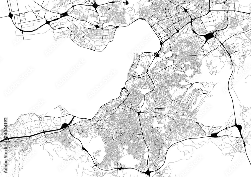 Fototapety, obrazy: Monochrome city map with road network of Izmir