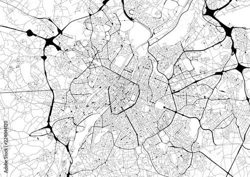 Foto Monochrome city map with road network of Brussels