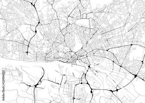 Fototapeta Monochrome city map with road network of Hamburg