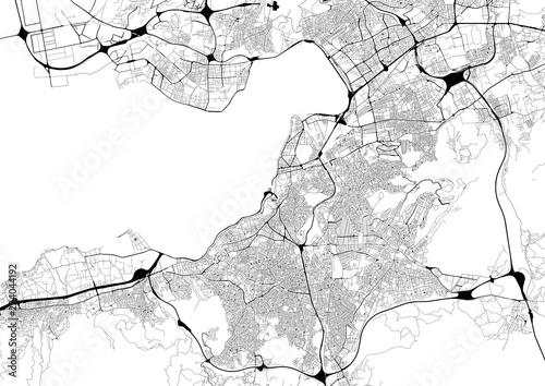 Fotografía  Monochrome city map with road network of Izmir