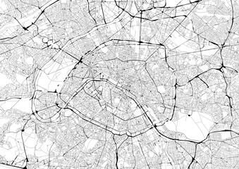 FototapetaMonochrome city map with road network of Paris