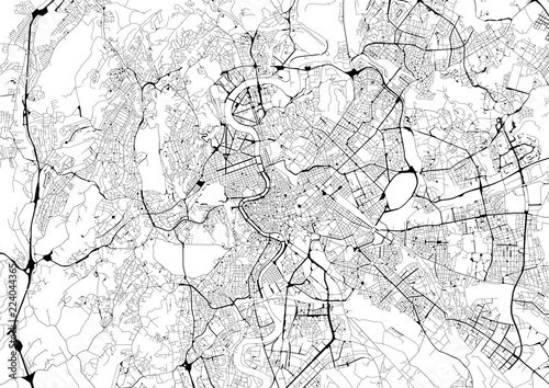Monochrome city map with road network of Rome Tablou Canvas