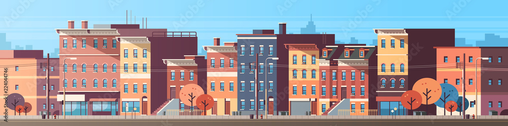 Fototapeta city building houses view skyline background real estate cute town concept horizontal banner flat vector illustration