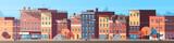 Fototapeta Miasto - city building houses view skyline background real estate cute town concept horizontal banner flat vector illustration