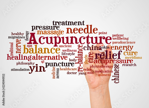 Acupuncture word cloud and hand with marker concept Wallpaper Mural