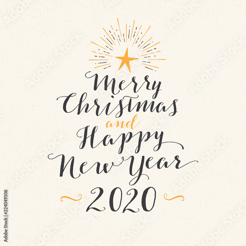 Merry Christmas Images 2020.Handmade Style Greeting Card Merry Christmas And Happy New