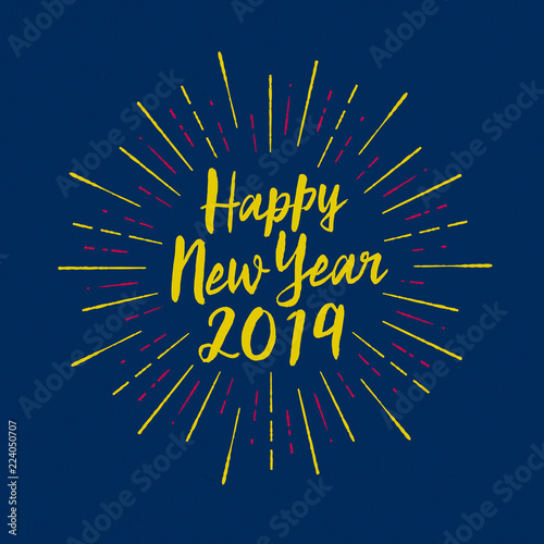Handmade Style Greeting Card Happy New Year 2019 Vector Eps10