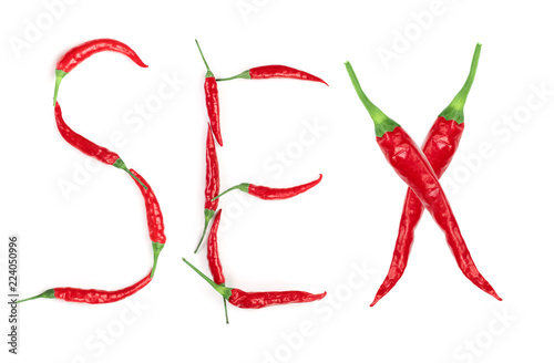 Word sex written from red hot pepper letters isolated on white background
