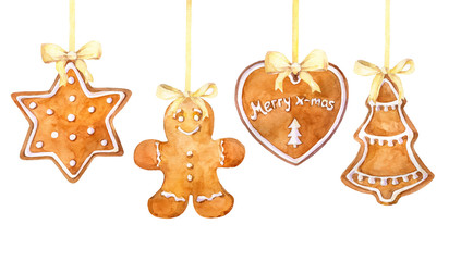 Christmas gingerbread cookies hanging border on a white background. Watercolor hand drawn illustration.