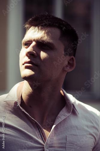 Fotografie, Obraz  Macho wear fashionable shirt on sunny day