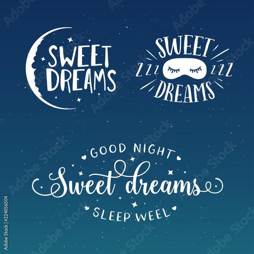 Sweet Dreams Good Night Typography Set Vector Vintage Illustration