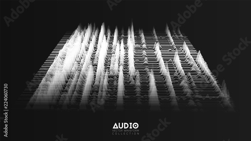 Vector 3d echo audio wavefrom spectrum. Abstract music waves oscillation graph. Futuristic sound wave visualization. Faded black and white glowing impulse pattern. Synthetic music technology sample.