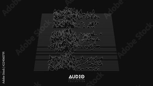 Fotografie, Obraz  Vector 3d echo audio wavefrom spectrum