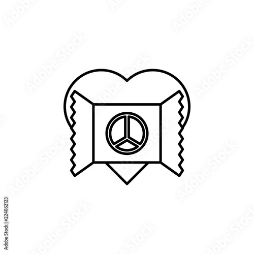 Foto  heart and postcard with peace icon