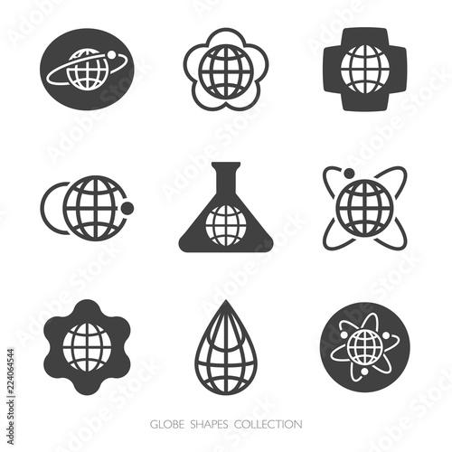 Fotografie, Obraz Globe Shapes Collection. Vector logo set.