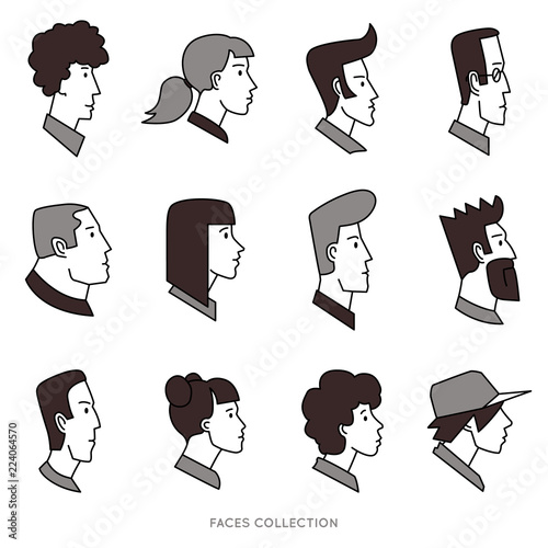 Fotografie, Obraz Collection of black and white flat avatars with different human heads