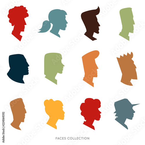 Obraz na plátně Collection of silhouette flat avatars with different human heads
