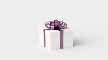 White Gift Box With Purple Ribbon, On White Background. Concept For Women And Holidays. 3D Rendering