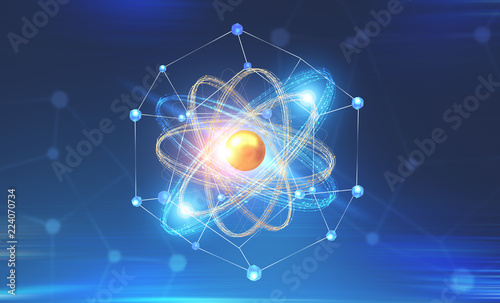 Gold and blue atom model and network interface