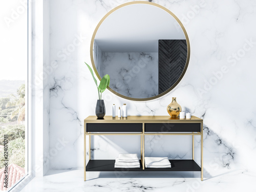 Black vanity unit and mirror, marble bathroom
