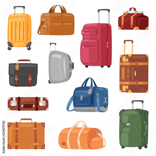 Travel bag vector luggage suitcase for journey vacation tourism illustration set Fototapet