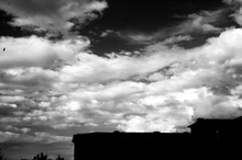 Black And White Sky With Part Of Building