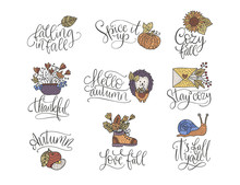 Cozy Fall Vector Lettering Set. Hand Drawn Autumn Quotes.