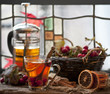 Hawthorn and ripe hawthorn fruit, tea with hawthorn and lemon