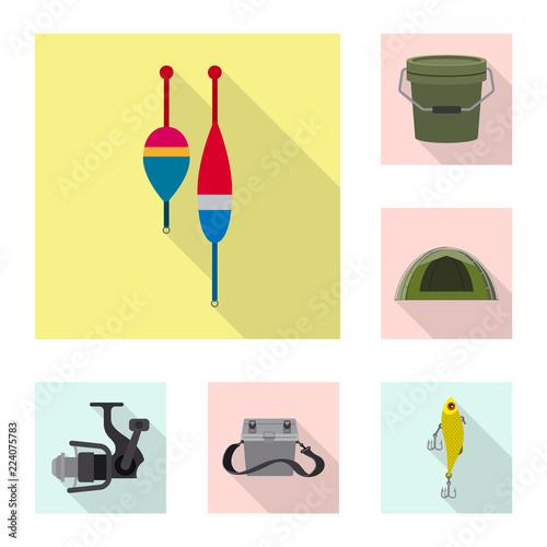 Fotografie, Obraz  Vector illustration of fish and fishing icon