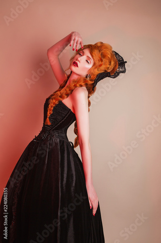 Gothic Carnival Clothes Young Dancing Redhead Queen With Hairstyle
