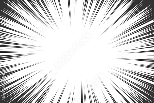 Comic book radial lines background. Manga speed frame. Explosion vector illustration. Star burst or sun rays abstract backdrop - 224082136
