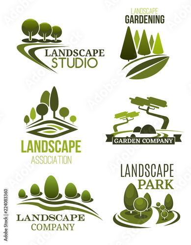 Fotobehang Wit Landscape design icons with green trees