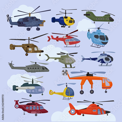 Fotografía Helicopter vector copter aircraft jet or rotor plane and chopper flight transpor