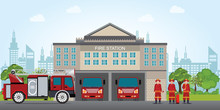 Fire Station Building With Emergency Vehicle Fire Engine Truck .