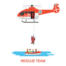 Rescue Team With Rescue Helicopter And Boat Rescue