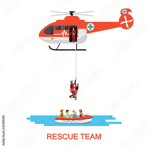 fototapeta na lodówkę Rescue team with rescue helicopter and boat rescue