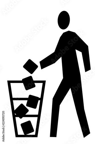 ゴミを捨てる人のイラスト 左向き 黒 Buy This Stock Illustration And