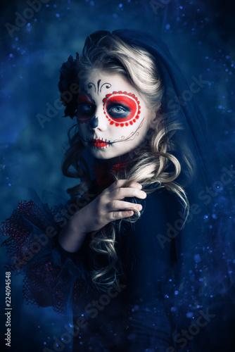 Spoed Fotobehang Halloween de los muertos girl