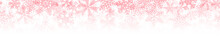 Christmas Horizontal Seamless Banner Or Background Of Many Layers Of Snowflakes Of Different Shapes, Sizes And Transparency. Gradient From Pink To White
