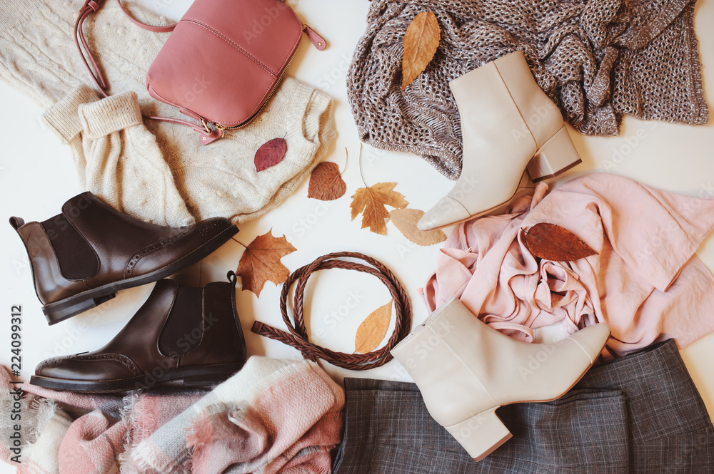 Fototapety, obrazy: set of seasonal autumn fashion woman clothes, top view with copy space. Trendy shoes, sweater and handbag.