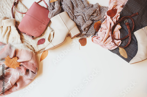 set of seasonal autumn fashion woman clothes, top view with copy space. Trendy shoes, sweater and handbag. - fototapety na wymiar