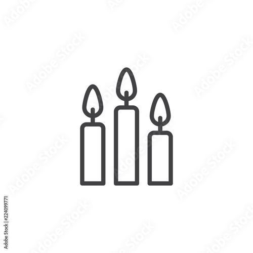 Fotografiet  Burning candles outline icon