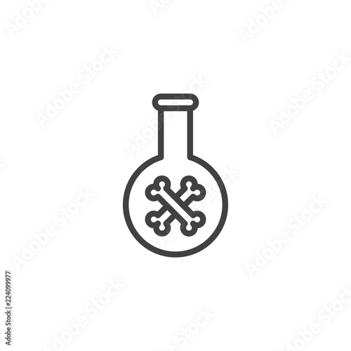 Fototapeta Poison flask outline icon. linear style sign for mobile concept and web design. Halloween test tube with crossed bones simple line vector icon. Symbol, logo illustration. Pixel perfect vector graphics obraz