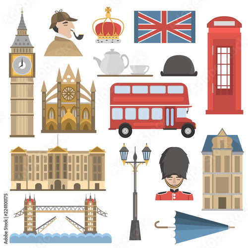 Photo London color flat icons set