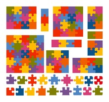 Jigsaw Puzzle Set With Many Co...