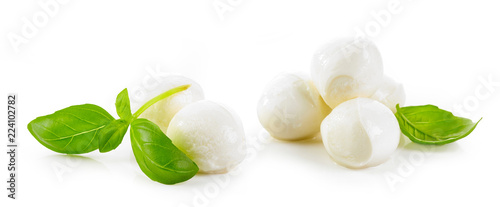 mozzarella cheese balls and basil leaves