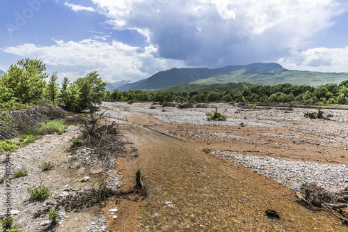Dried-up bed of a mountain river